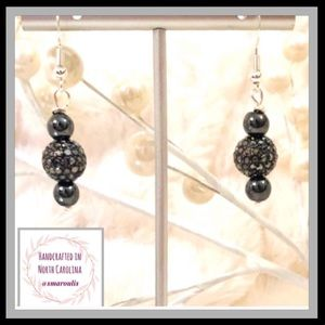 🇺🇸Sterling Silver Earrings Hematite Crystal